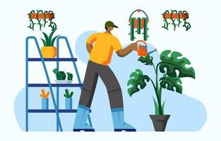 Fun Activity of Watering Plants at Home vector