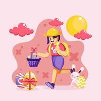 Girl Running With Easter Egg Basket vector