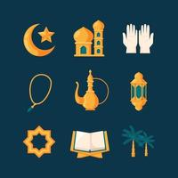 Eid Icon Collection in Flat Design Style vector