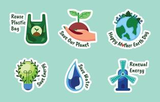 Mother Earth Day Sticker Collection vector
