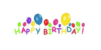 banner en blanco con globos de colores aislados sobre fondo blanco. vector de fondo festivo. concepto de feliz cumpleaños