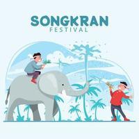 Children Celebrating Songkran Festival vector
