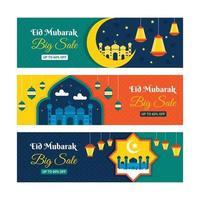 Set Of Eid Mubarak Sale Banner vector