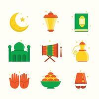 Set of Happy Eid Mubarak Icons vector
