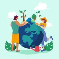 salvar el concepto del planeta vector