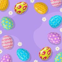 Fondo de huevos de pascua en diseño plano vector