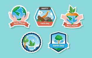 Collection of Earth Day Sticker vector