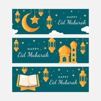 Eid Mubarak Banner in Flat Design vector