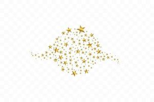 Set of golden falling stars. Cloud of golden stars isolated background. Vector illustration. Meteoroid, comet, asteroid, stars