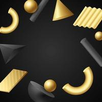 3D Geometric Background in Black and Gold