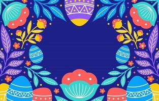 Easter Background in Colorful Flower and Foliage
