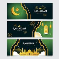 Ramadan Eid Mubarak Banner Collection vector