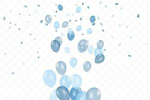 Boy's birthday. Composition of vector realistic blue balloons isolated background. Balloons isolated. For Birthday greeting cards or other designs