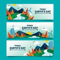 Earth's Day Banners in Flat Style Template vector