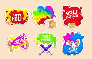 colorido conjunto de pegatinas del festival holi vector