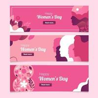 Happy Women's Day Banner Collection vector