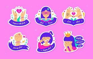 Women's Day Sticker Set vector