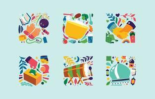 Islamic Eid Celebration Colorful Icon Set vector