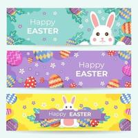 Happy Easter Banner Set vector