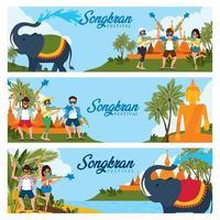 celebrar la bandera del festival de songkran