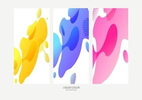 Abstract geometric shapes. Liquid gradient banners isolated on white background. Fluid vector background. Gradient geometric banners with flowing liquid shapes. Dynamic Fluid design for logo, flyers or presentstion. Abstract vector background