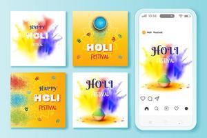 Holi festival social media posts illustration