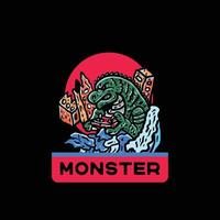 Monster illustration japanese style vintage for tshirt vector