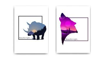 Beautiful landscapes in the form of a Rhino and wolf silhouettes. Modern cover design of notepad vector