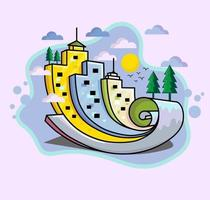 colorful city with tree, cloud and sun as a scroll paper illustration vector