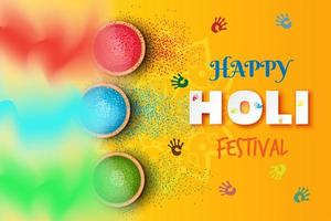 Realistic holi festival with handprints and gulal illustration