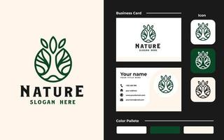Circle root of the tree logo and business card template. Vector illustration