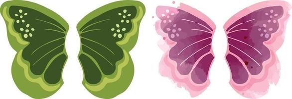 Butterfly wings tattoo and silhouette in color vector