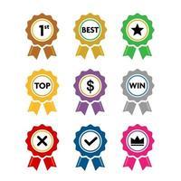 Colección de cintas de premios de colores con conjunto de vectores de signo