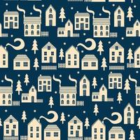 Winter seamless pattern with trees, cottages and houses on blue background. Vector illustration.