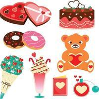 valentine object set flat color vector