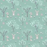Easter seamless pattern with hand drawn cute bunnies happy on green background