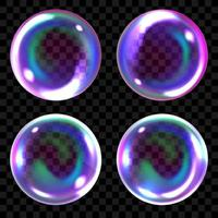 Soap bubbles, realistic transparent air spheres of rainbow colors with reflections and highlights set vector