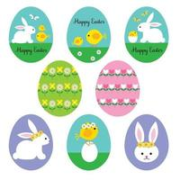 pastel Happy Easter egg shape graphics with bunnies chicks and flowers vector