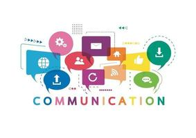 Vector illustration of a communication concept. The word communication with colorful icons