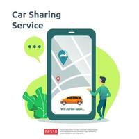 Car sharing illustration concept. online taxi or rent transportation using smartphone service application with character and route points location on gps map for landing page, banner, web, UI, flyer vector