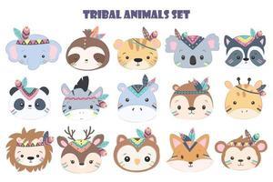 Cute animal head set vector