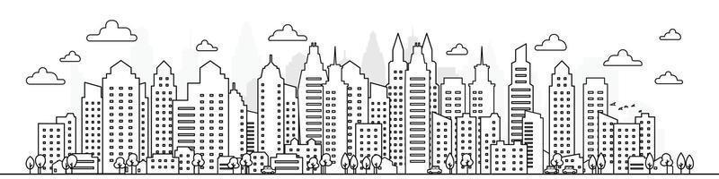 Outline of skyscraper building, city skyline, Vector illustration.