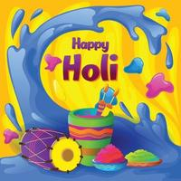 Holi greetings with splash of colors vector