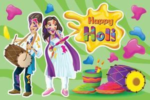 Holi greetings with joyful Indian dancers vector