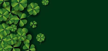 Patrick's day banner design of clover leaves on green background vector illustration