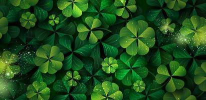 St Patricks day banner design of clover leaves with copy space vector illustration
