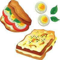 dos tostadas de comida de cocina vector