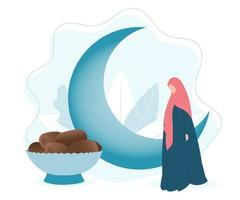 Islamic month of Ramadan with moon, muslim woman and dates vector