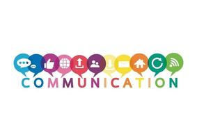 ilustración vectorial de un concepto de comunicación. la palabra comunicación con coloridos bocadillos de diálogo vector