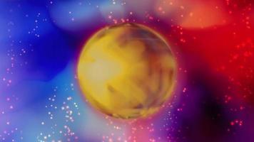 Fondo futurista de neón abstracto con esfera giratoria.